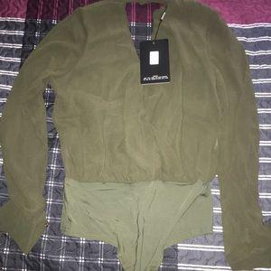 Khaki bodysuit long sleeve size large